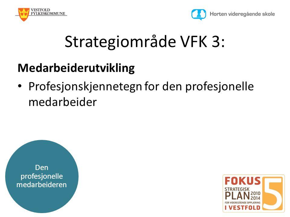 Den profesjonelle medarbeideren Strategiområde VFK 3: Medarbeiderutvikling • Profesjonskjennetegn for den profesjonelle medarbeider