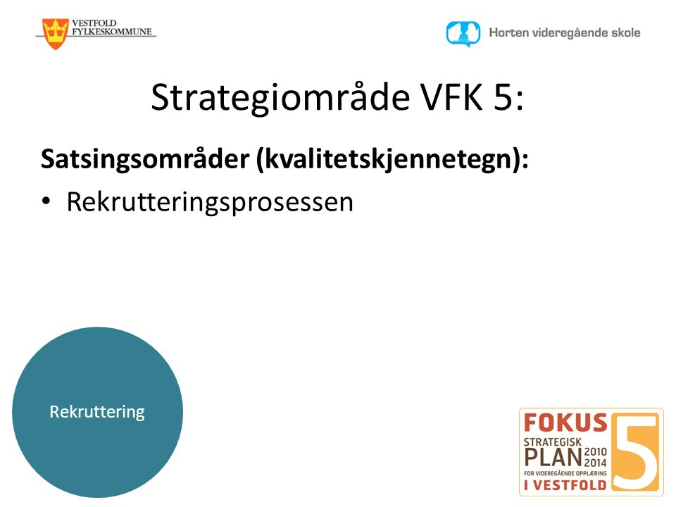 Rekruttering Strategiområde VFK 5: Satsingsområder (kvalitetskjennetegn): • Rekrutteringsprosessen