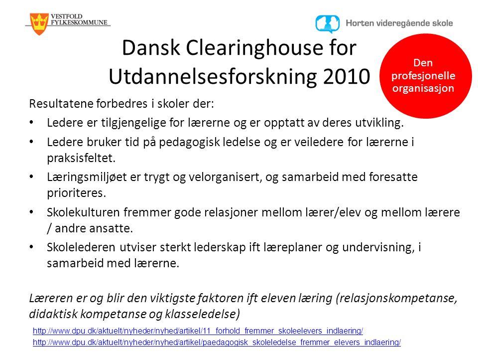 Dansk Clearinghouse for Utdannelsesforskning 2010 Resultatene forbedres i skoler der: • Ledere er tilgjengelige for lærerne og er opptatt av deres utv