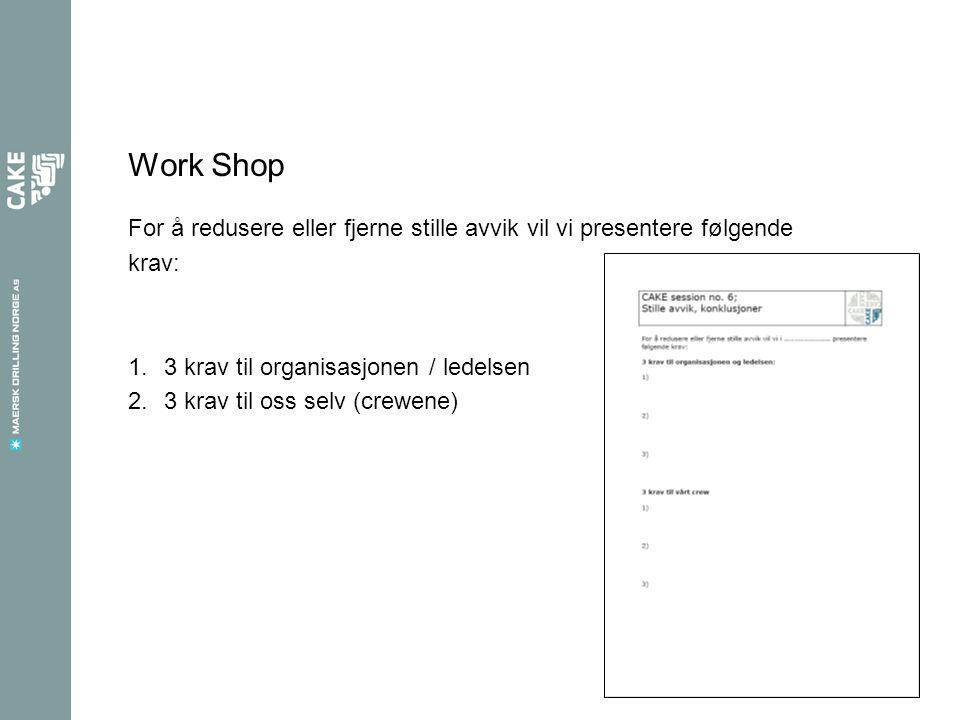 Work Shop For å redusere eller fjerne stille avvik vil vi presentere følgende krav: 1.3 krav til organisasjonen / ledelsen 2.3 krav til oss selv (crewene)
