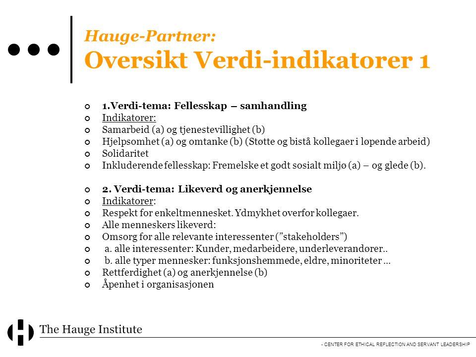 - CENTER FOR ETHICAL REFLECTION AND SERVANT LEADERSHIP Hauge-Partner: Oversikt Verdi-indikatorer 1 1.Verdi-tema: Fellesskap – samhandling Indikatorer: