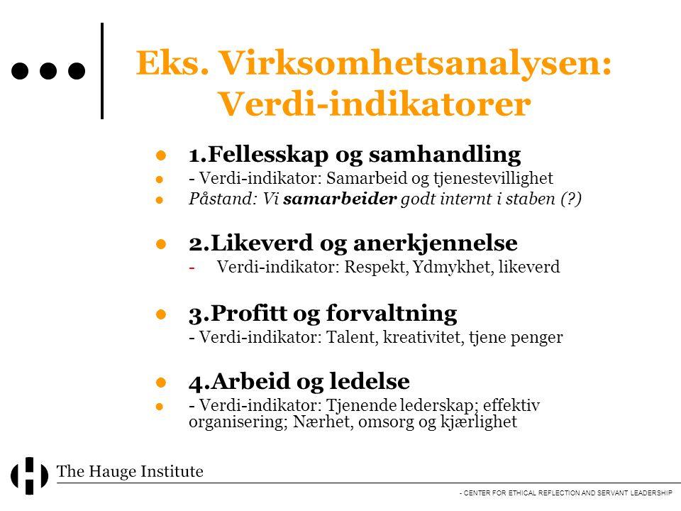 - CENTER FOR ETHICAL REFLECTION AND SERVANT LEADERSHIP Eks. Virksomhetsanalysen: Verdi-indikatorer  1.Fellesskap og samhandling  - Verdi-indikator: