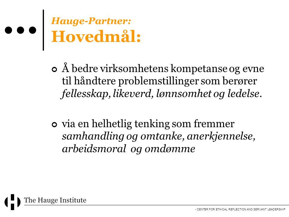 - CENTER FOR ETHICAL REFLECTION AND SERVANT LEADERSHIP Hauge-Partner: Hovedmål: Å bedre virksomhetens kompetanse og evne til håndtere problemstillinge