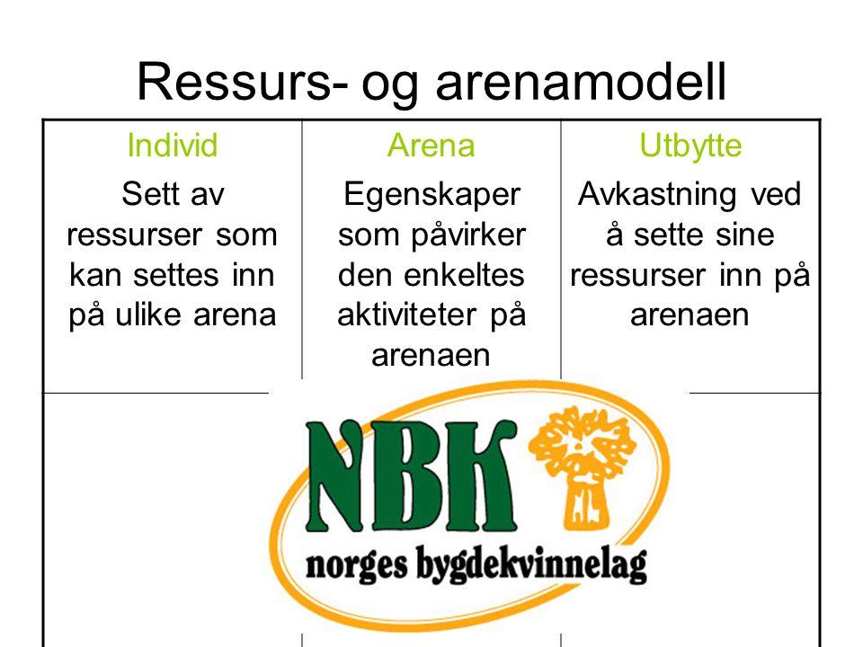 Ressurs- og arenamodell Individ Sett av ressurser som kan settes inn på ulike arena Arena Egenskaper som påvirker den enkeltes aktiviteter på arenaen Utbytte Avkastning ved å sette sine ressurser inn på arenaen