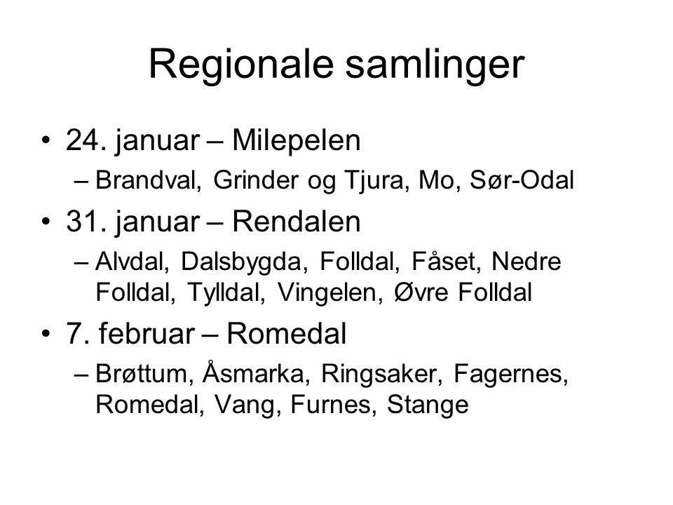 Regionale samlinger •24. januar – Milepelen –Brandval, Grinder og Tjura, Mo, Sør-Odal •31. januar – Rendalen –Alvdal, Dalsbygda, Folldal, Fåset, Nedre