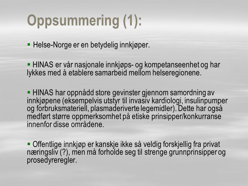 Oppsummering (1):   Helse-Norge er en betydelig innkjøper.   HINAS er vår nasjonale innkjøps- og kompetanseenhet og har lykkes med å etablere sama