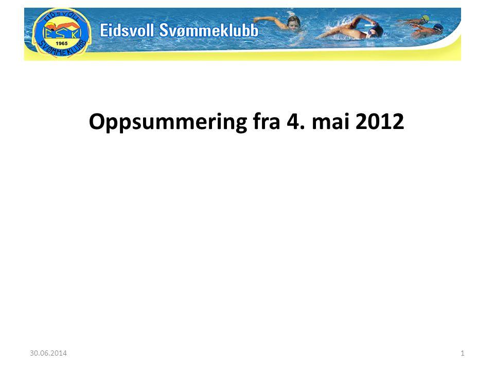 30.06.20141 Oppsummering fra 4. mai 2012
