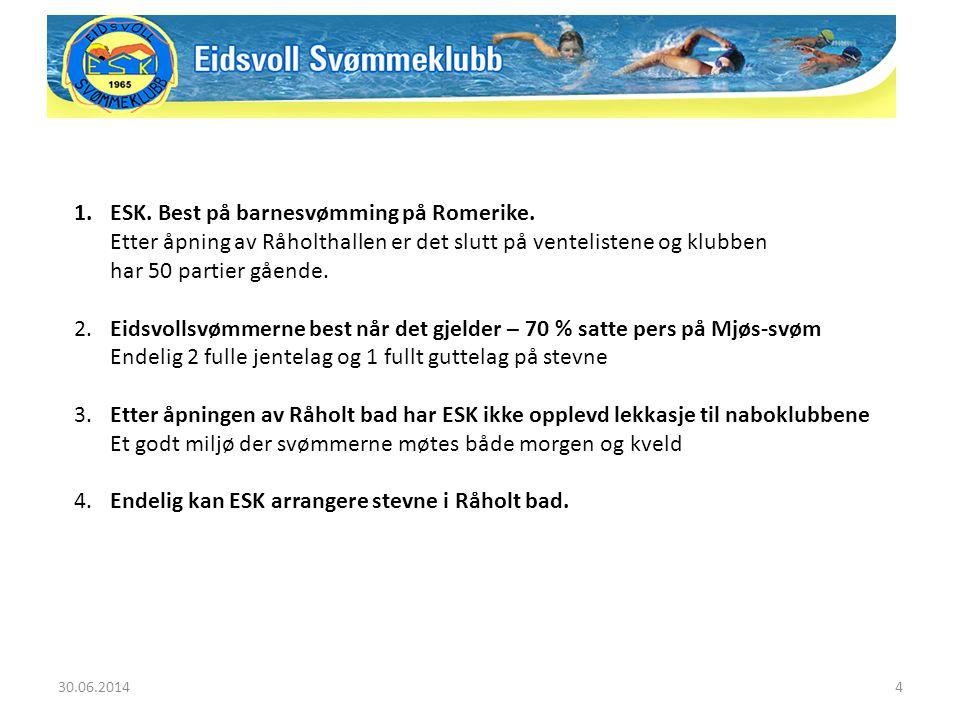 30.06.20144 1.ESK. Best på barnesvømming på Romerike. Etter åpning av Råholthallen er det slutt på ventelistene og klubben har 50 partier gående. 2. E