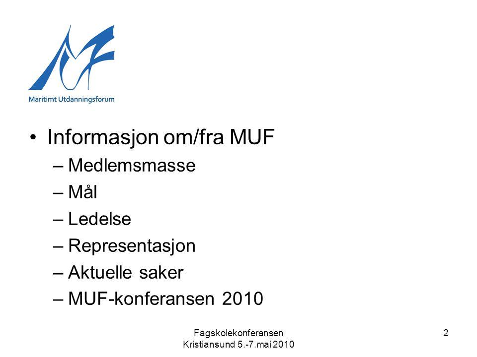 2 •Informasjon om/fra MUF –Medlemsmasse –Mål –Ledelse –Representasjon –Aktuelle saker –MUF-konferansen 2010