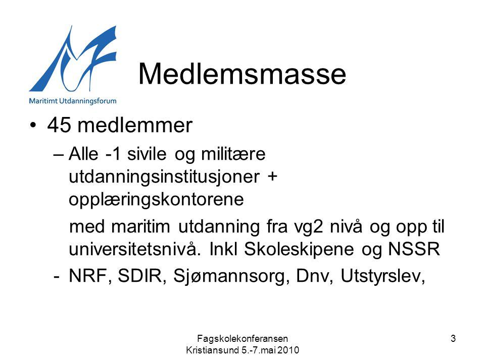 Fagskolekonferansen Kristiansund 5.-7.mai 2010 3 Medlemsmasse •45 medlemmer –Alle -1 sivile og militære utdanningsinstitusjoner + opplæringskontorene med maritim utdanning fra vg2 nivå og opp til universitetsnivå.