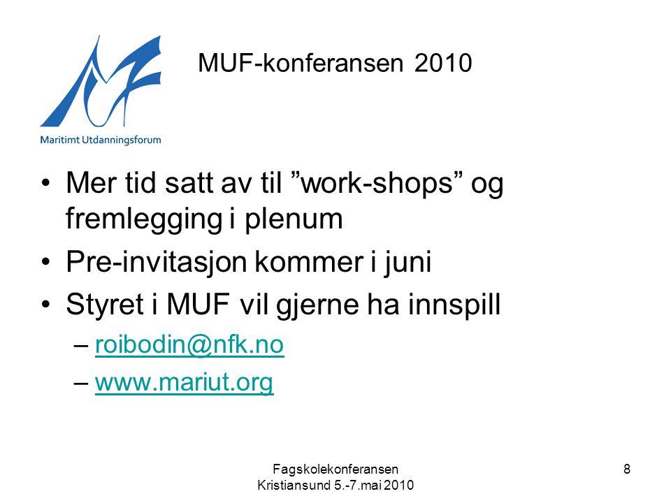 Fagskolekonferansen Kristiansund 5.-7.mai 2010 8 MUF-konferansen 2010 •Mer tid satt av til work-shops og fremlegging i plenum •Pre-invitasjon kommer i juni •Styret i MUF vil gjerne ha innspill –roibodin@nfk.noroibodin@nfk.no –www.mariut.orgwww.mariut.org