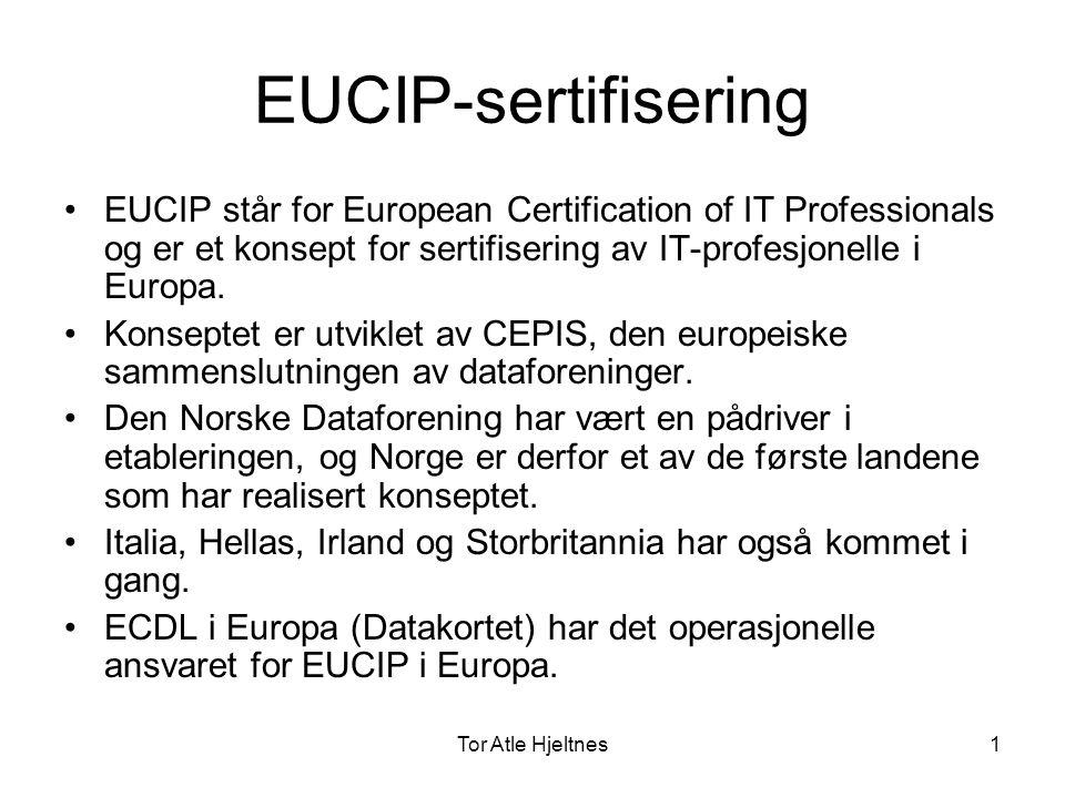 Tor Atle Hjeltnes2 EUCIP Core Level •EUCIP Core Level – Kjernekompetanse i tre deler som alle må gjennomføre (400 studietimer totalt) –Eucip Core Level Plan –Eucip Core Level Bulid –Eucip Core Level Operate •Studieplanene er definert på engelsk, finnes på Internett.