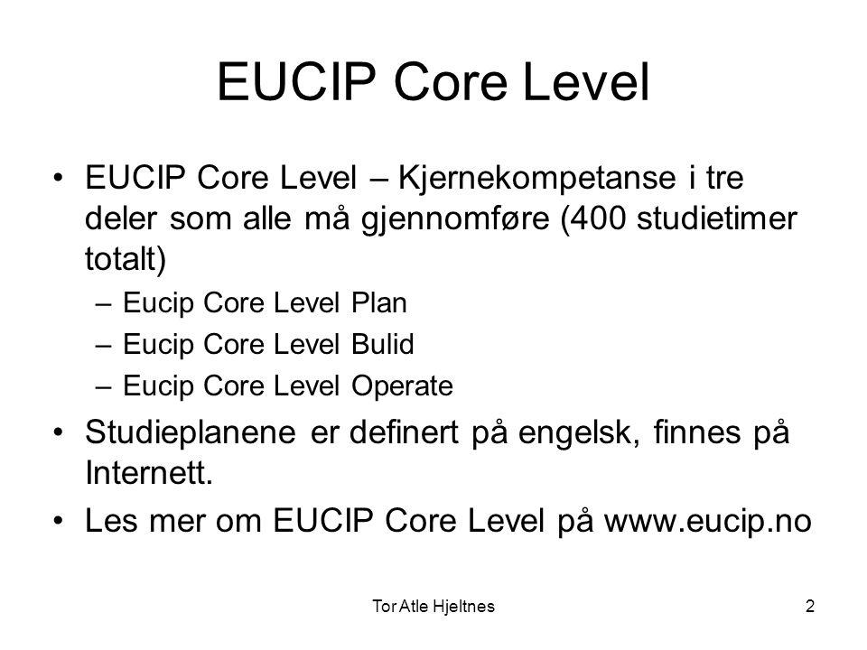 Tor Atle Hjeltnes3 EUCIP Core Level Plan •Læremål: Lære om behovet for og bruken av Informasjonssystemer.
