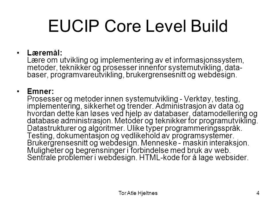 Tor Atle Hjeltnes5 EUCIP Core Level Operate •Læremål: Lære om prinsipper og begreper for oppbygging og virkemåte til tekniske IT-installasjoner, og hvordan disse installasjonene skal overvåkes og driftes.