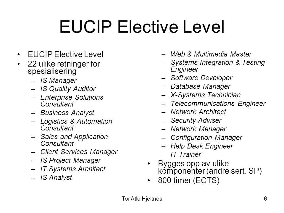 Tor Atle Hjeltnes7 EUCIPs overordnede målsetning •Å definere en brukerindustridrevet struktur og standard av stillingsbetegnelser for IT- profesjonelle (også internasjonalt).