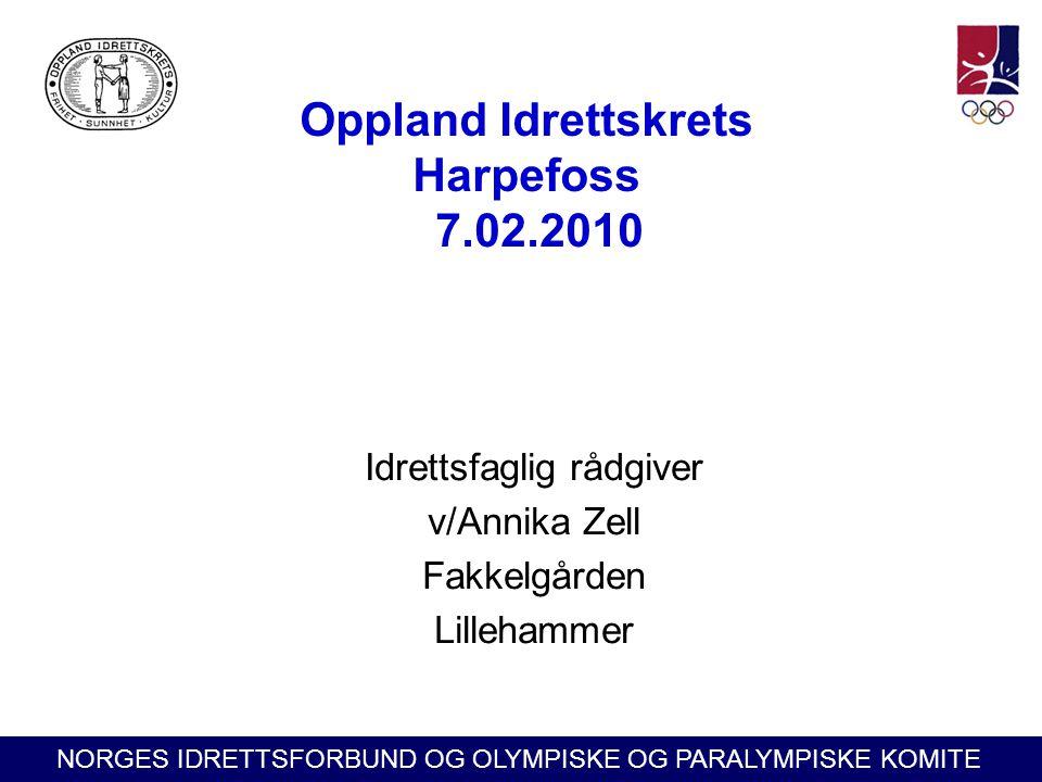 NORGES IDRETTSFORBUND OG OLYMPISKE OG PARALYMPISKE KOMITE Oppland Idrettskrets Harpefoss 7.02.2010 Idrettsfaglig rådgiver v/Annika Zell Fakkelgården L