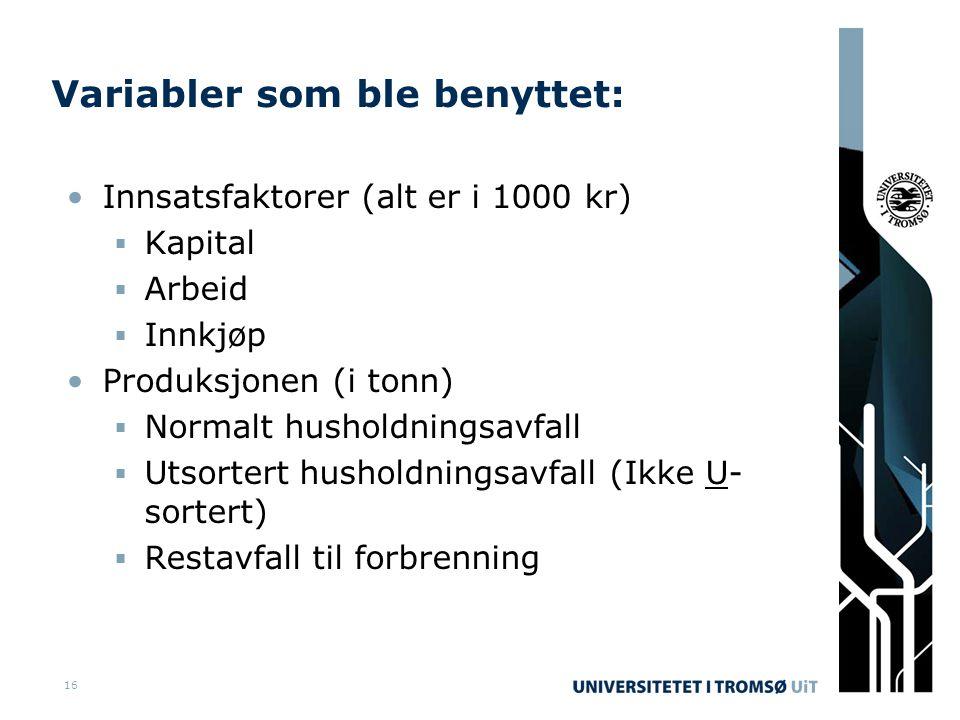 16 Variabler som ble benyttet: •Innsatsfaktorer (alt er i 1000 kr)  Kapital  Arbeid  Innkjøp •Produksjonen (i tonn)  Normalt husholdningsavfall  Utsortert husholdningsavfall (Ikke U- sortert)  Restavfall til forbrenning