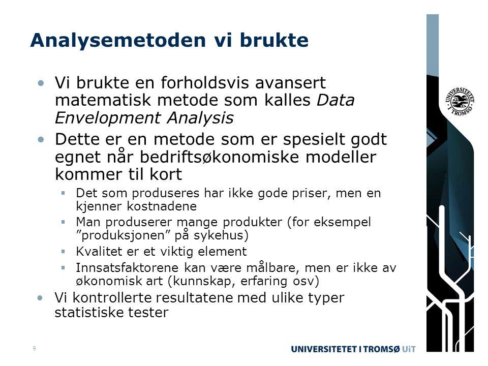 9 Analysemetoden vi brukte •Vi brukte en forholdsvis avansert matematisk metode som kalles Data Envelopment Analysis •Dette er en metode som er spesielt godt egnet når bedriftsøkonomiske modeller kommer til kort  Det som produseres har ikke gode priser, men en kjenner kostnadene  Man produserer mange produkter (for eksempel produksjonen på sykehus)  Kvalitet er et viktig element  Innsatsfaktorene kan være målbare, men er ikke av økonomisk art (kunnskap, erfaring osv) •Vi kontrollerte resultatene med ulike typer statistiske tester