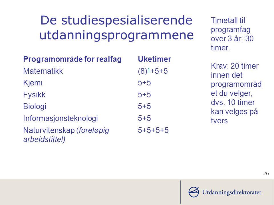 26 Programområde for realfagUketimer Matematikk (8) 1 +5+5 1 Kjemi 5+5 Fysikk 5+5 Biologi5+5 Informasjonsteknologi5+5 Naturvitenskap (foreløpig arbeid