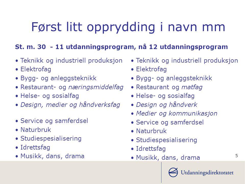 5 • Teknikk og industriell produksjon • Elektrofag • Bygg- og anleggsteknikk • Restaurant- og næringsmiddelfag • Helse- og sosialfag • Design, medier
