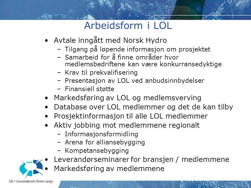 Arbeidsform i LOL •Avtale inngått med Norsk Hydro –Tilgang på løpende informasjon om prosjektet –Samarbeid for å finne områder hvor medlemsbedriftene