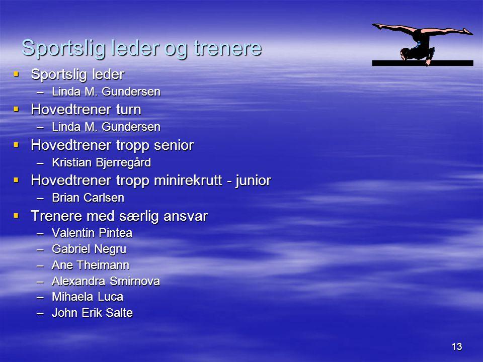 13 Sportslig leder og trenere  Sportslig leder –Linda M. Gundersen  Hovedtrener turn –Linda M. Gundersen  Hovedtrener tropp senior –Kristian Bjerre