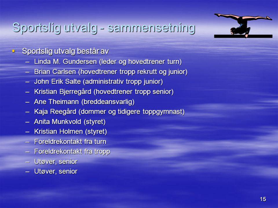 15 Sportslig utvalg - sammensetning  Sportslig utvalg består av –Linda M. Gundersen (leder og hovedtrener turn) –Brian Carlsen (hovedtrener tropp rek