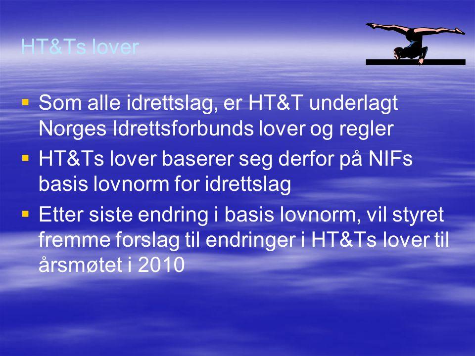 HT&Ts lover   Som alle idrettslag, er HT&T underlagt Norges Idrettsforbunds lover og regler   HT&Ts lover baserer seg derfor på NIFs basis lovnorm