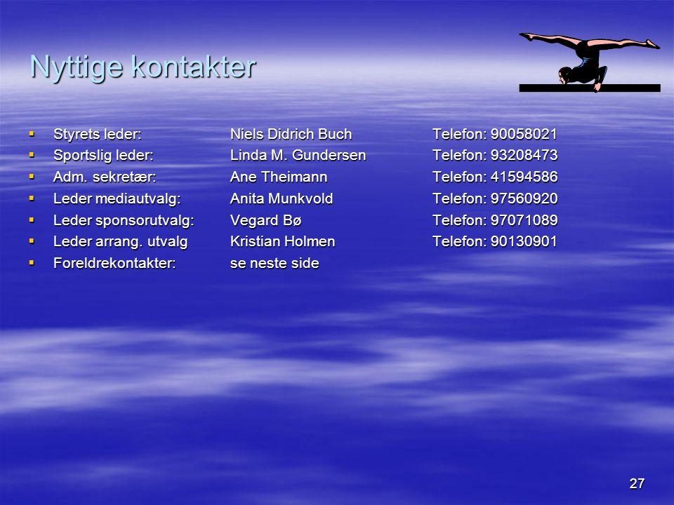 27 Nyttige kontakter  Styrets leder:Niels Didrich BuchTelefon: 90058021  Sportslig leder:Linda M. GundersenTelefon: 93208473  Adm. sekretær:Ane The