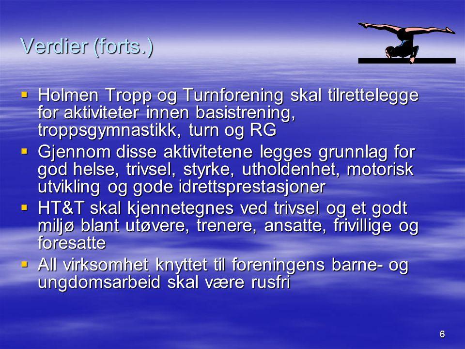 6 Verdier (forts.)  Holmen Tropp og Turnforening skal tilrettelegge for aktiviteter innen basistrening, troppsgymnastikk, turn og RG  Gjennom disse