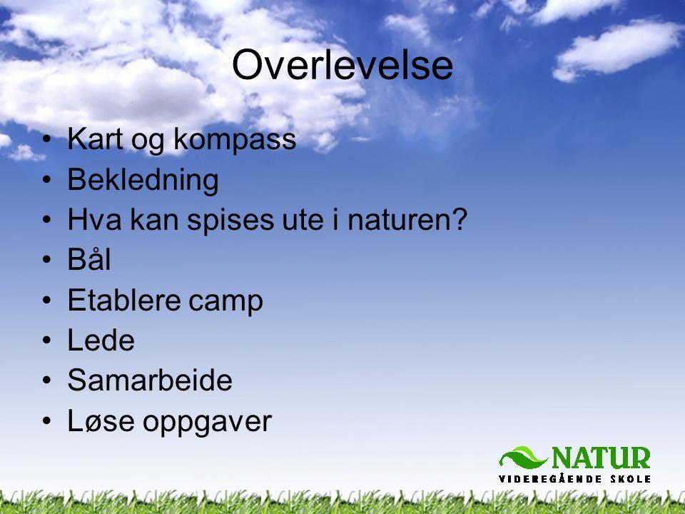 •Kart og kompass •Bekledning •Hva kan spises ute i naturen? •Bål •Etablere camp •Lede •Samarbeide •Løse oppgaver