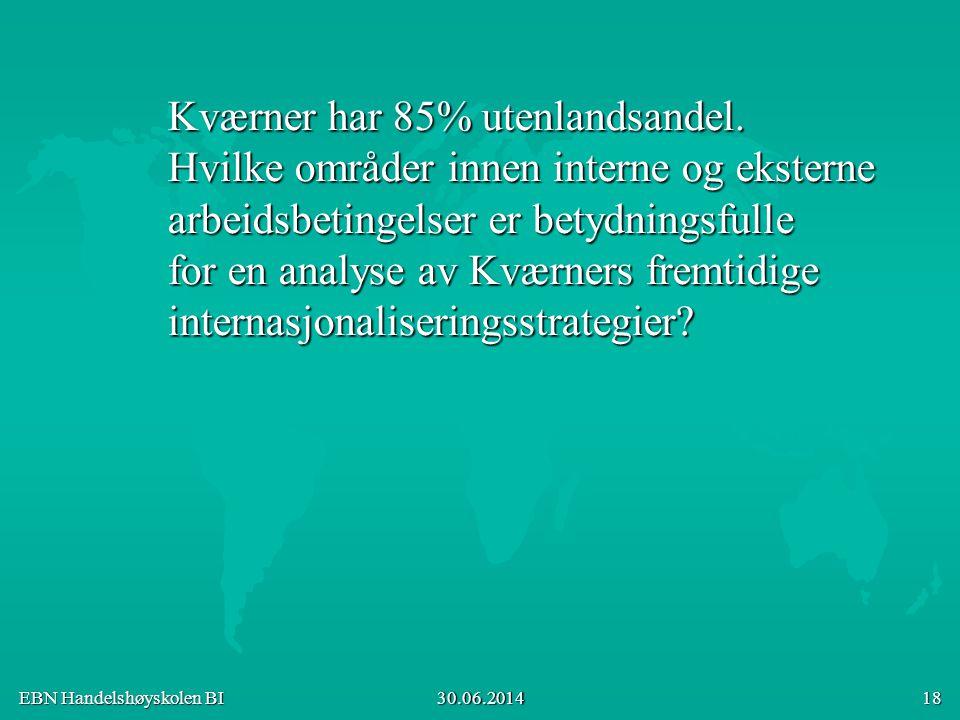 EBN Handelshøyskolen BI 30.06.2014 18 Kværner har 85% utenlandsandel. Hvilke områder innen interne og eksterne arbeidsbetingelser er betydningsfulle f