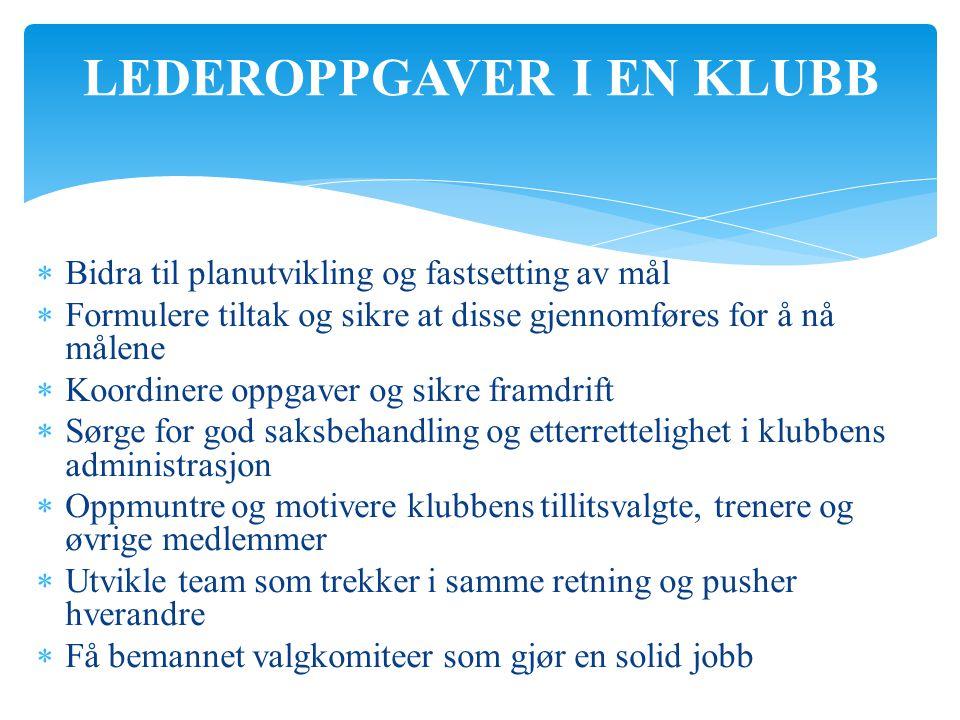 LEDEROPPGAVER I EN KLUBB  Bidra til planutvikling og fastsetting av mål  Formulere tiltak og sikre at disse gjennomføres for å nå målene  Koordiner