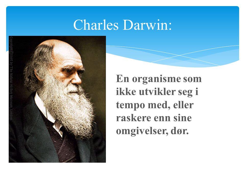 Charles Darwin:  En organisme som ikke utvikler seg i tempo med, eller raskere enn sine omgivelser, dør.