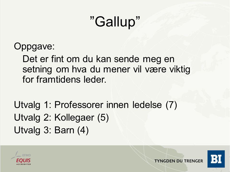 """""""Gallup"""" Oppgave: Det er fint om du kan sende meg en setning om hva du mener vil være viktig for framtidens leder. Utvalg 1: Professorer innen ledelse"""