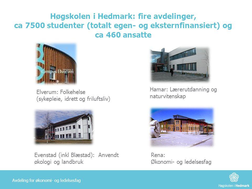 Høgskolen i Hedmark: fire avdelinger, ca 7500 studenter (totalt egen- og eksternfinansiert) og ca 460 ansatte Rena: Økonomi- og ledelsesfag Evenstad (