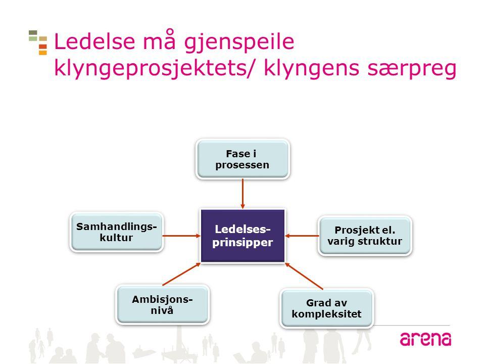Ledelse må gjenspeile klyngeprosjektets/ klyngens særpreg Samhandlings- kultur Samhandlings- kultur Ambisjons- nivå Ambisjons- nivå Fase i prosessen F