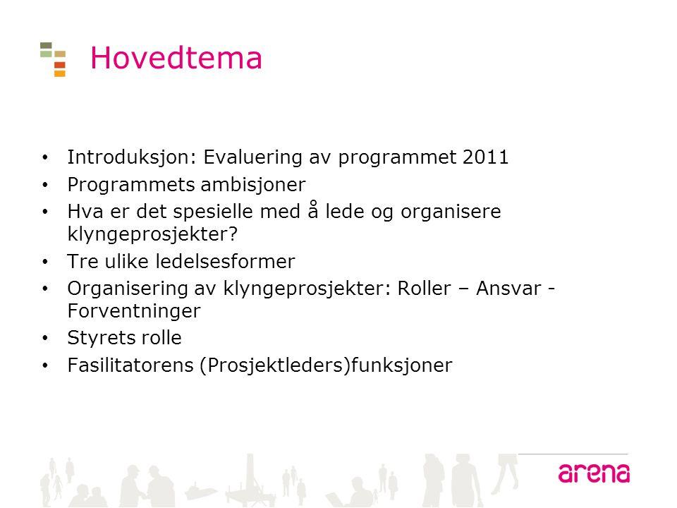 Hovedtema • Introduksjon: Evaluering av programmet 2011 • Programmets ambisjoner • Hva er det spesielle med å lede og organisere klyngeprosjekter? • T