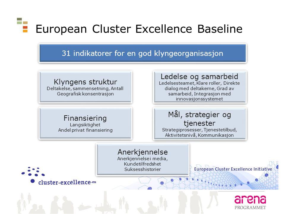 European Cluster Excellence Baseline 31 indikatorer for en god klyngeorganisasjon Klyngens struktur Deltakelse, sammensetning, Antall Geografisk konse
