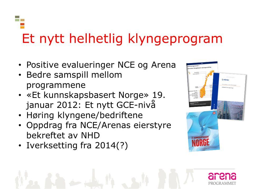 Et nytt helhetlig klyngeprogram • Positive evalueringer NCE og Arena • Bedre samspill mellom programmene • «Et kunnskapsbasert Norge» 19. januar 2012: