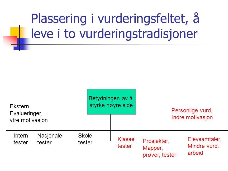 Plassering i vurderingsfeltet, å leve i to vurderingstradisjoner Intern tester Nasjonale tester Skole tester Klasse tester Prosjekter, Mapper, prøver, tester Elevsamtaler, Mindre vurd.