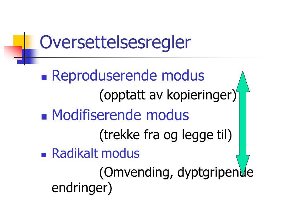 Oversettelsesregler  Reproduserende modus (opptatt av kopieringer)  Modifiserende modus (trekke fra og legge til)  Radikalt modus (Omvending, dyptgripende endringer)