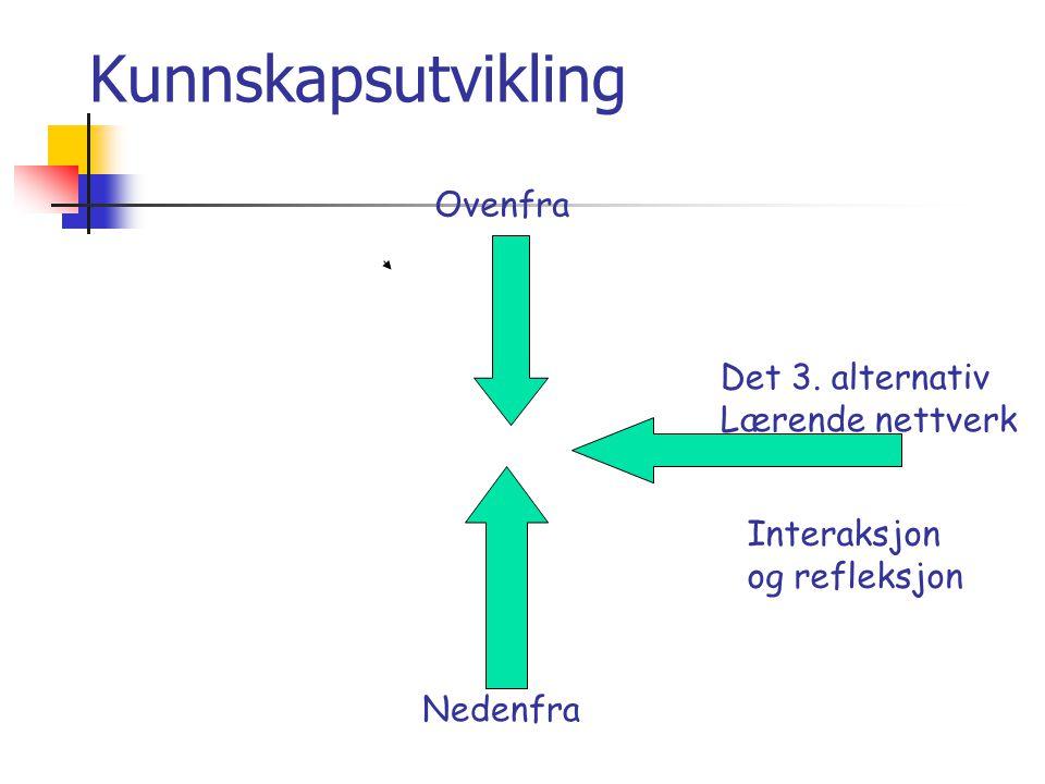 Kunnskapsutvikling Nedenfra Ovenfra Det 3. alternativ Lærende nettverk Interaksjon og refleksjon