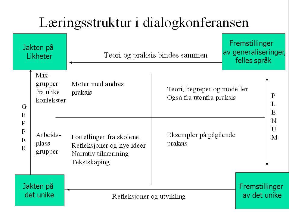 Jakten på Likheter Fremstillinger av generaliseringer, felles språk Jakten på det unike Fremstillinger av det unike