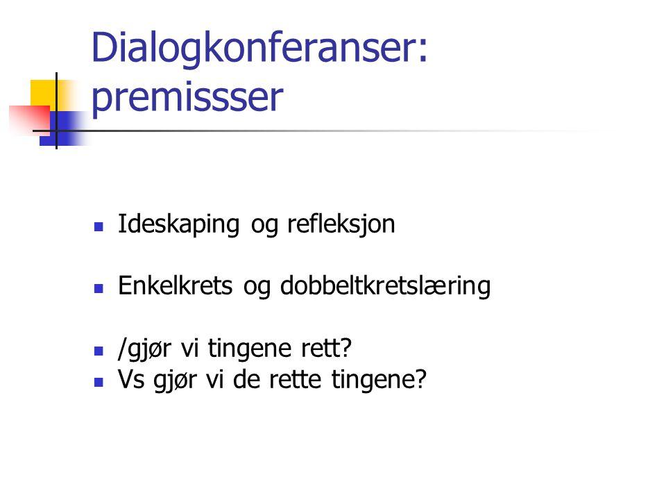 Dialogkonferanser: premissser  Ideskaping og refleksjon  Enkelkrets og dobbeltkretslæring  /gjør vi tingene rett.