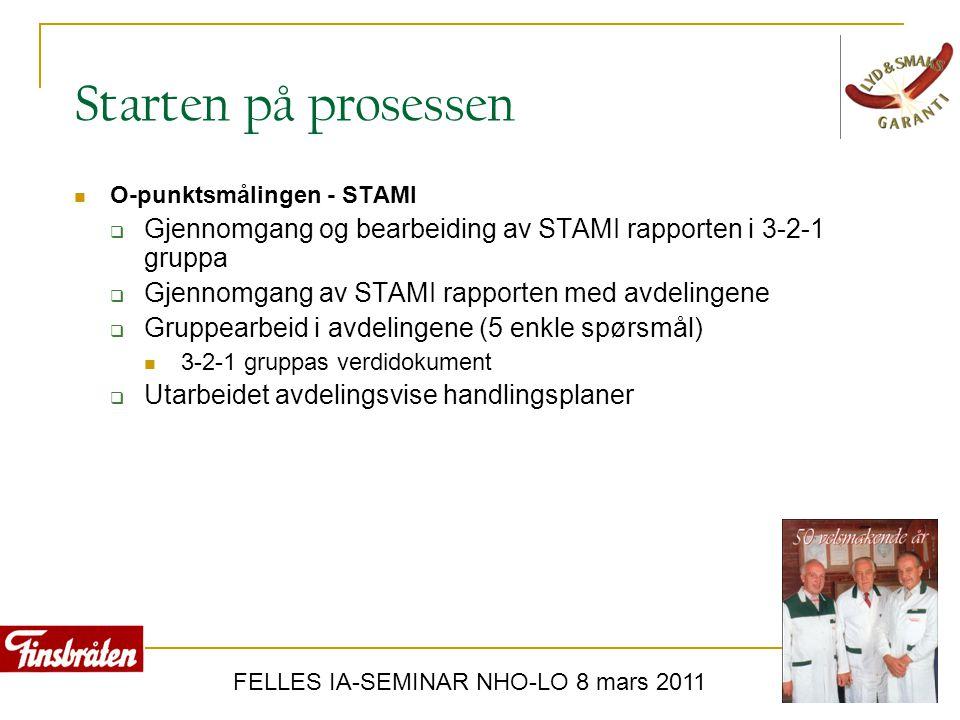 FELLES IA-SEMINAR NHO-LO 8 mars 2011 Starten på prosessen  O-punktsmålingen - STAMI  Gjennomgang og bearbeiding av STAMI rapporten i 3-2-1 gruppa 