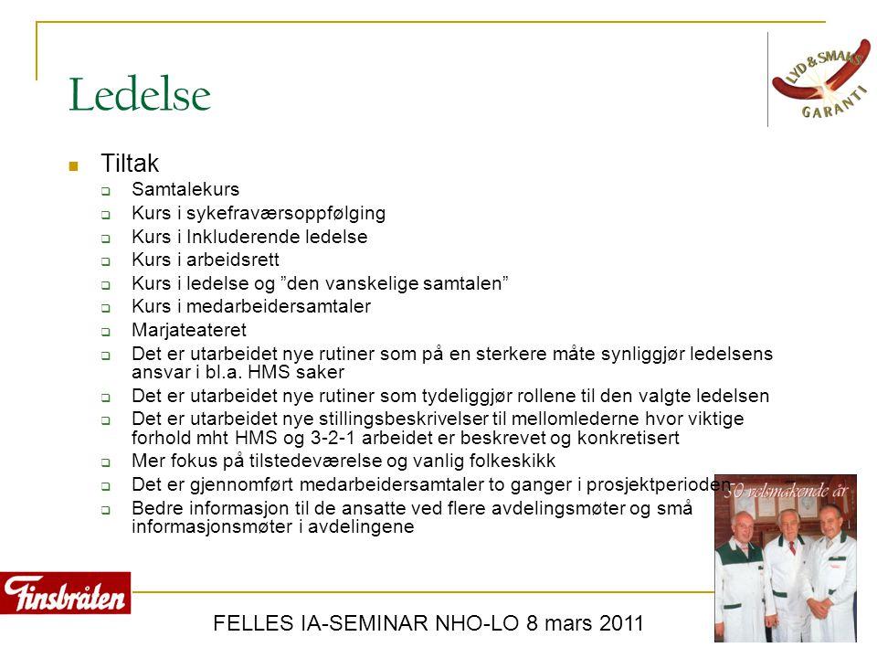 FELLES IA-SEMINAR NHO-LO 8 mars 2011 Ledelse  Tiltak  Samtalekurs  Kurs i sykefraværsoppfølging  Kurs i Inkluderende ledelse  Kurs i arbeidsrett