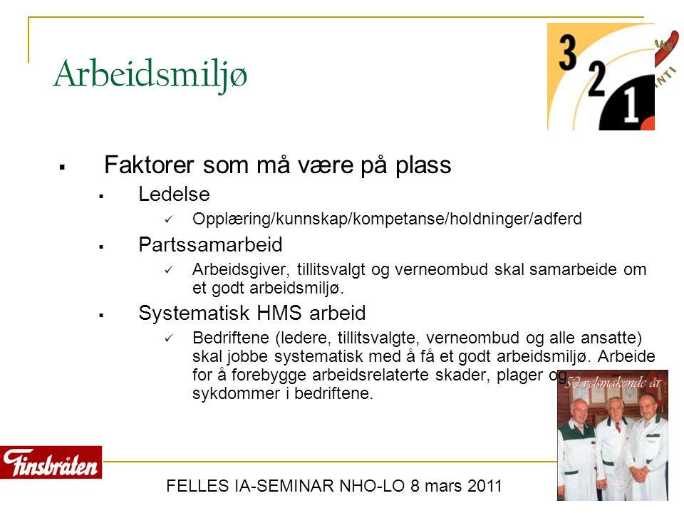 FELLES IA-SEMINAR NHO-LO 8 mars 2011 Arbeidsmiljø  Faktorer som må være på plass  Ledelse  Opplæring/kunnskap/kompetanse/holdninger/adferd  Partss