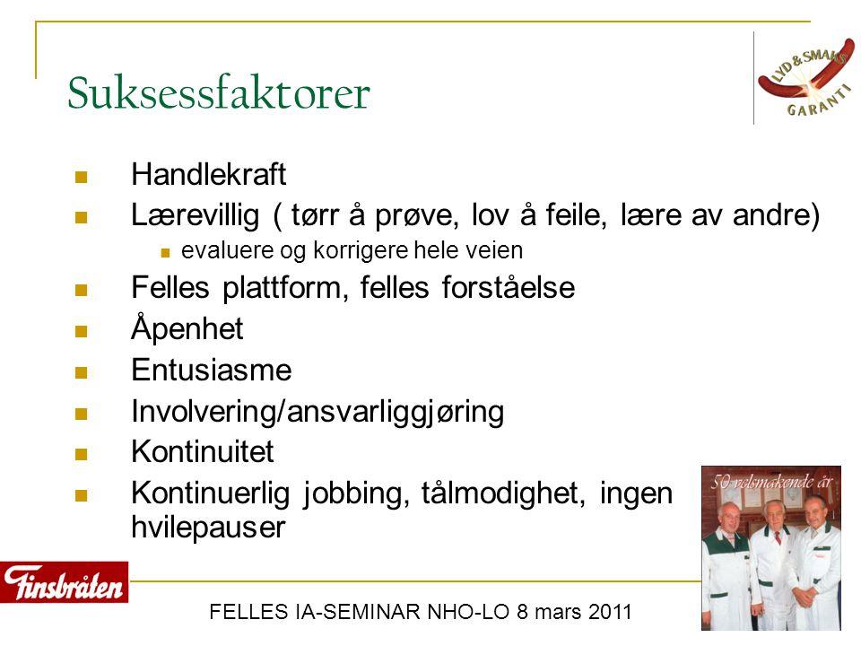 FELLES IA-SEMINAR NHO-LO 8 mars 2011 Suksessfaktorer  Handlekraft  Lærevillig ( tørr å prøve, lov å feile, lære av andre)  evaluere og korrigere he