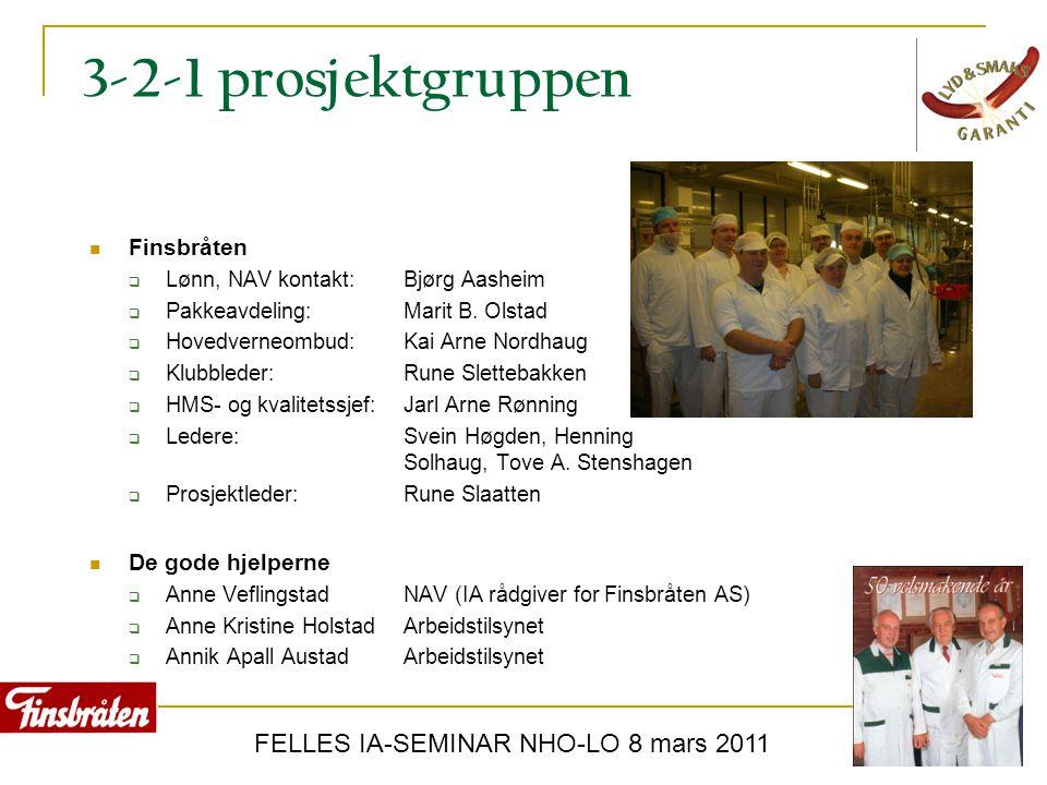 FELLES IA-SEMINAR NHO-LO 8 mars 2011 3-2-1 prosjektgruppen  Finsbråten  Lønn, NAV kontakt: Bjørg Aasheim  Pakkeavdeling: Marit B. Olstad  Hovedver